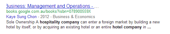 SERP result for Google Books
