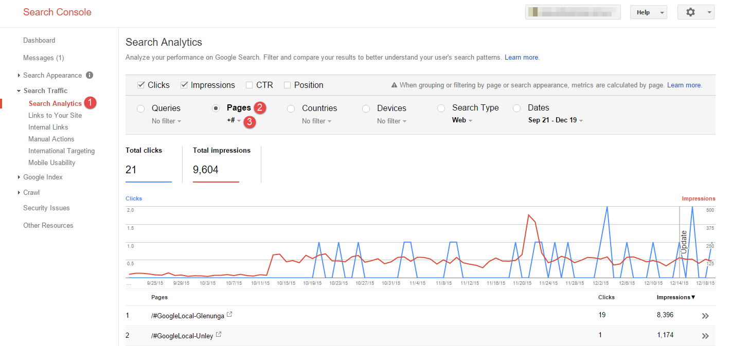 Google Search Console Search Analytics Page report on Google My Business Pages