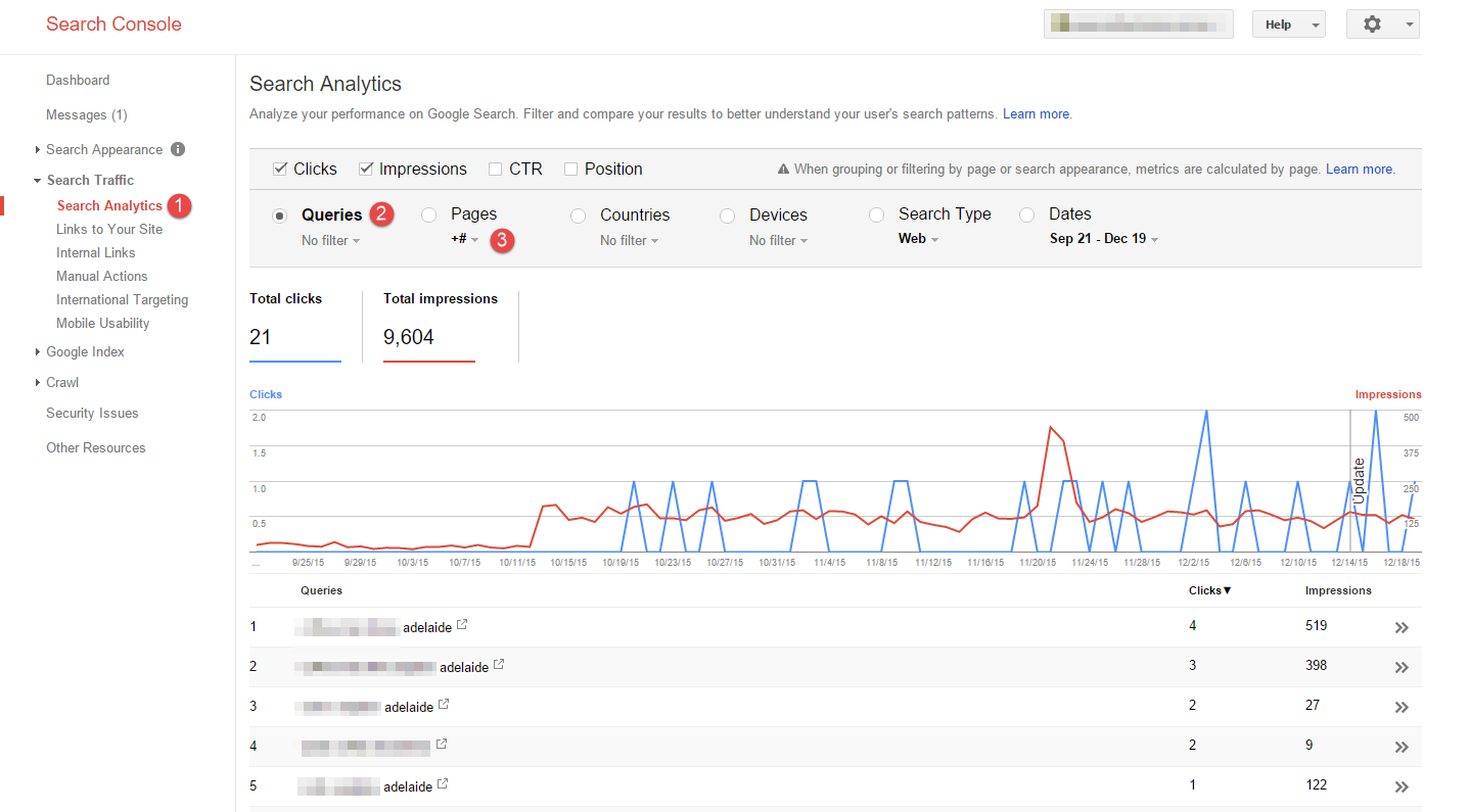 Google Search Console Search Analytics Queries report on Google My Business Pages
