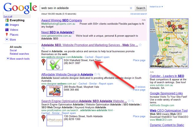 A Google Search Result Page including a map and Google Places entries
