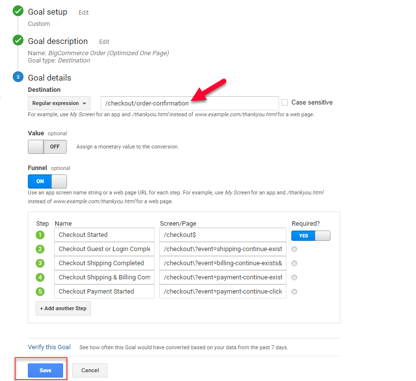 Google Analytics Goal Details Fixed