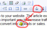 An Html editor showing an anchor link