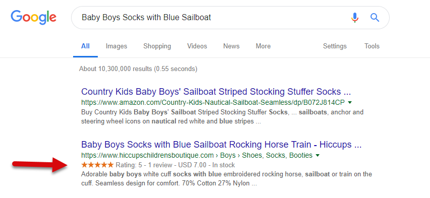Search result with product rich snippets