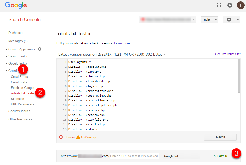 Google Search Consoles robots.txt Tester