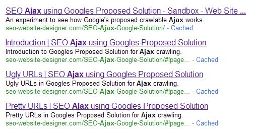 Google Search Results showing a result for each Ajax page and a link to the pretty URL