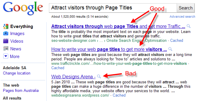 Attract visitors through web page Titles and get more Traffic
